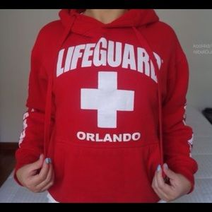 Party Costume Halloween  Life Guard Red Cross Womens Navy Hoodie